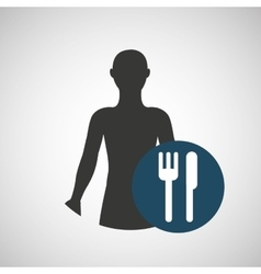 silhouette person food icon design vector image