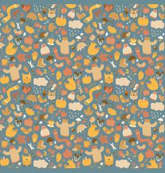 autumn elements fine pattern vector image