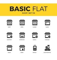 Basic set shop icons vector