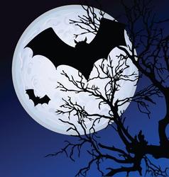 Bat fly in moonlight vector