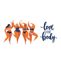 Beauty girls body positive people concept group vector