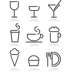 beverage and food set icons on white vector image