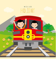 boys go to travel by train at countryside vector image