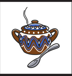 bulgarian traditional clay ceramic soup bowl or vector image