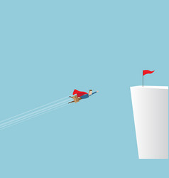 businessman flying to red flag on cliff vector image