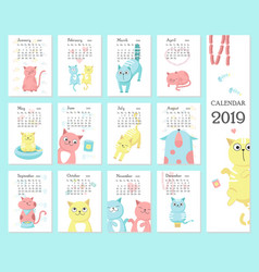 Calendar 2019 template with cute cats vector