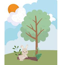 camping cute rabbit trunk tree foliage sun cloud vector image