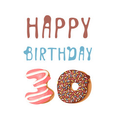 Cartoon donut hand drawn card vector
