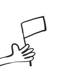 cartoon hand with flag on vector image