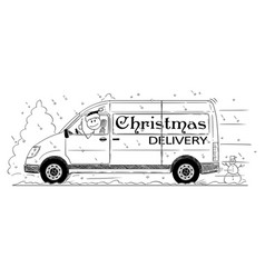 cartoon of driver of generic van with christmas vector image