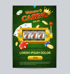 casino gambling game poster card template vector image