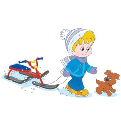 Child with a snow scooter and puppy vector image