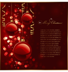 Christmas background with red baubles vector