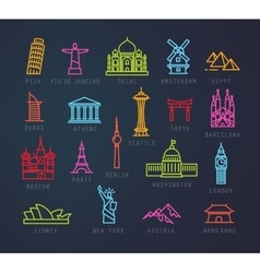 city flat neon icons vector image