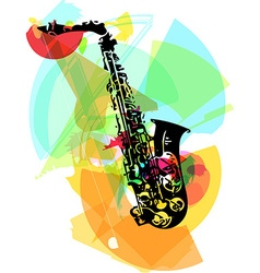 Colorful saxophone vector