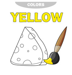 coloring book page template with cheese color vector image