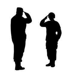 Commander and soldier salute each other vector