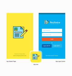 company cv splash screen and login page design vector image