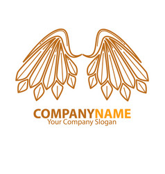Company name emblem with angel brown wings vector