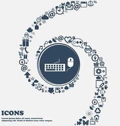 Computer keyboard and mouse Icon in the center vector image