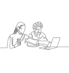 Continuous one line drawing couple have fun vector