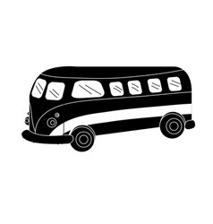 contour retro hippie bus transportation with vector image