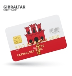 Credit card with Gibraltar flag background for vector image