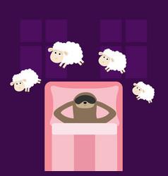 Cute lazy sloth sleeping mask jumping sheeps vector
