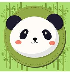 Cute Panda Head Cartoon in Bamboo Background vector image