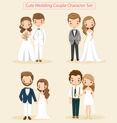 cute wedding couple character set vector image