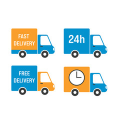 delivery truck icon set vector image