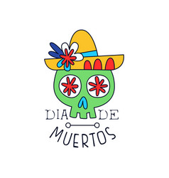 dia de muertos logo traditional mexican day of vector image