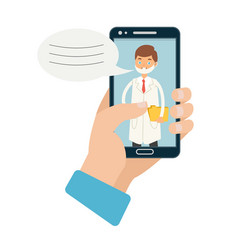 Doctor online hand holding vector