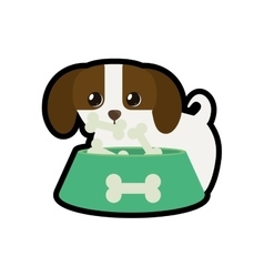 dog little canine adorable bowl food b print vector image