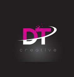 Dt d t creative letters design with white pink vector
