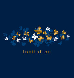 elegant gold and blue butterfly composition vector image