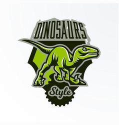 emblem badge sticker dinosaur logo on the hunt vector image