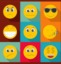 emotional color icons set flat style vector image