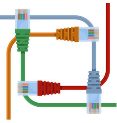 ethernet cables various colors with long wires vector image