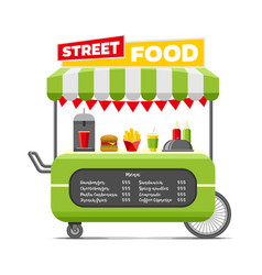 Fast street food cart colorful image vector