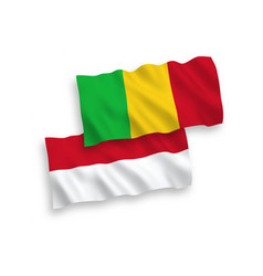 Flags indonesia and mali on a white background vector