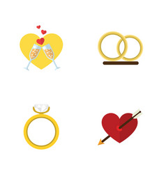 Flat icon amour set of engagement ring vector