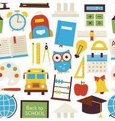Flat seamless pattern back to school objects over vector