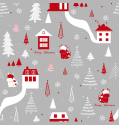 funny seamless pattern with cows houses vector image