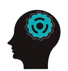 gears in head icon vector image