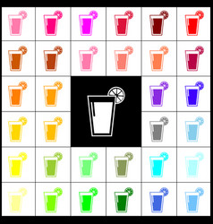 glass of juice icons felt-pen 33 colorful vector image vector image