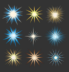 glowing sparkle star icon set vector image