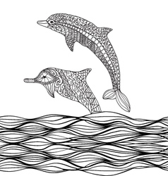 Hand drawn zentangle dolphins with scrolling sea w vector image