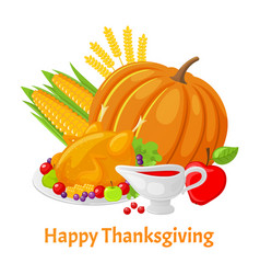 Happy thanksgiving poster with pumpkin vector