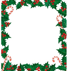 Holly berries frame vector image